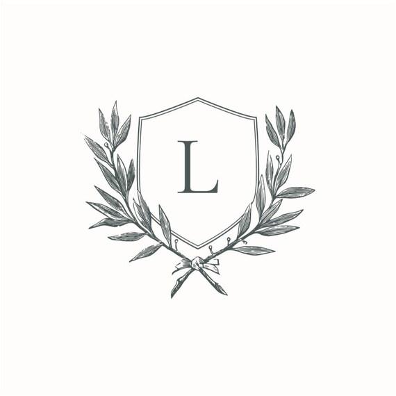 DIY Wedding Logo Single Letter A Initial Wreath Family Crest Instant Digital Download Monogram Wedding Crest