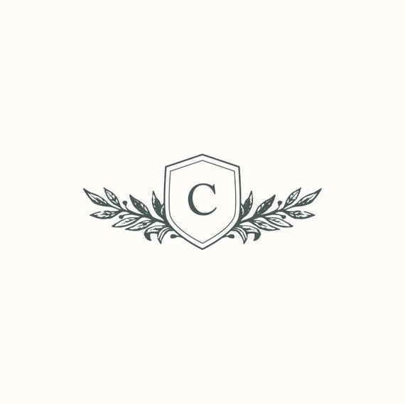 Single C Instant Digital Download Monogram Initial Wedding Wreath DIY Wedding Invitation Logo