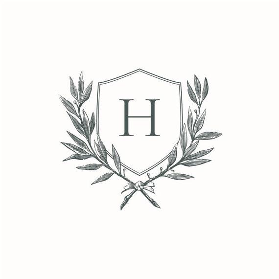 Wedding Crest Vintage Initial H Wreath Crest Digital Download