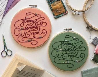 Embroidery Pattern Digital Download 'Strong Female Read' | DIY Hoop Art | Printable PDF