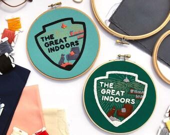 Embroidery Pattern Digital Download 'Great Indoors' | DIY Hoop Art | Printable PDF