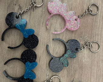 Minnie Mouse ear key chain Christmas edition