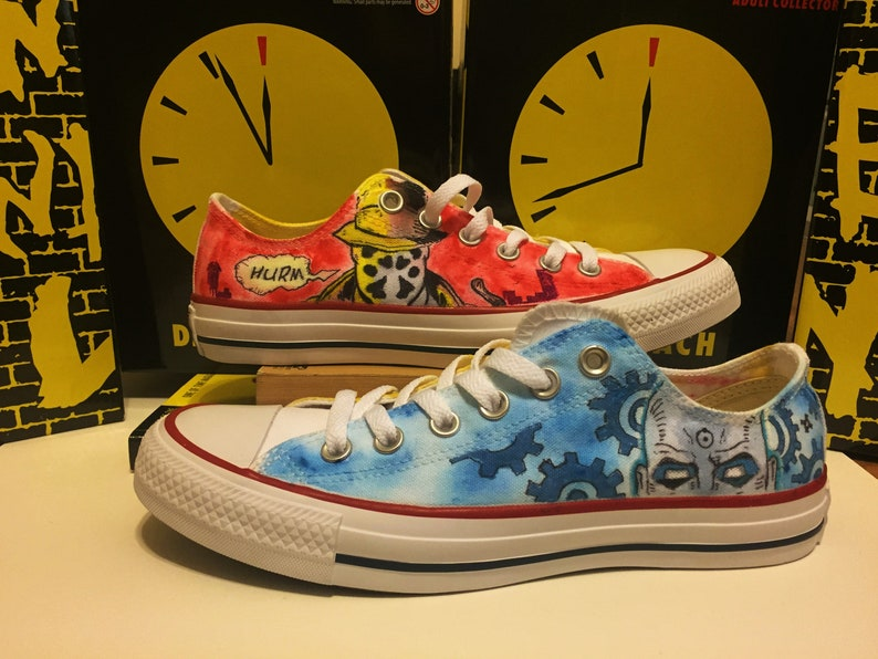92e86188eee9bc Custom Painted Watchmen Converse Shoes  Rorschach and Doctor