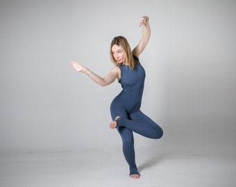 c8b7d77e6f Blue yoga unitard. Woman yoga suit. Bodysuit. Catsuit. Jumpsuit.  Activewear. Fitness suit. Yoga clothing. Yoga wear. Overall