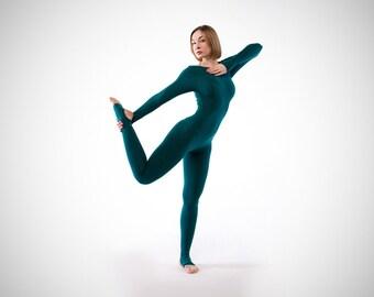 f394c1b4fd Emerald yoga unitard. Woman yoga suit. Bodysuit. Catsuit. Jumpsuit.  Activewear. Fitness suit. Yoga clothing. Yoga wear. Overall