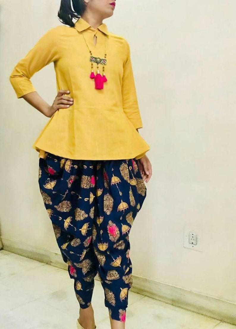 b35b3eaf78 Yellow Rayon Cotton dhoti style patiala salwar suit ethnic   Etsy