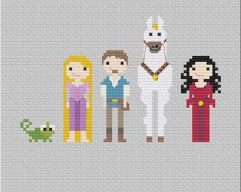 Disney Tangled Characters Cross Stitch PDF Pattern