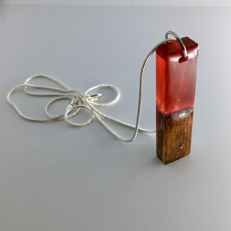 Limited Edition Handmade Resin Bar Pendant Fired Red Cedar image 0