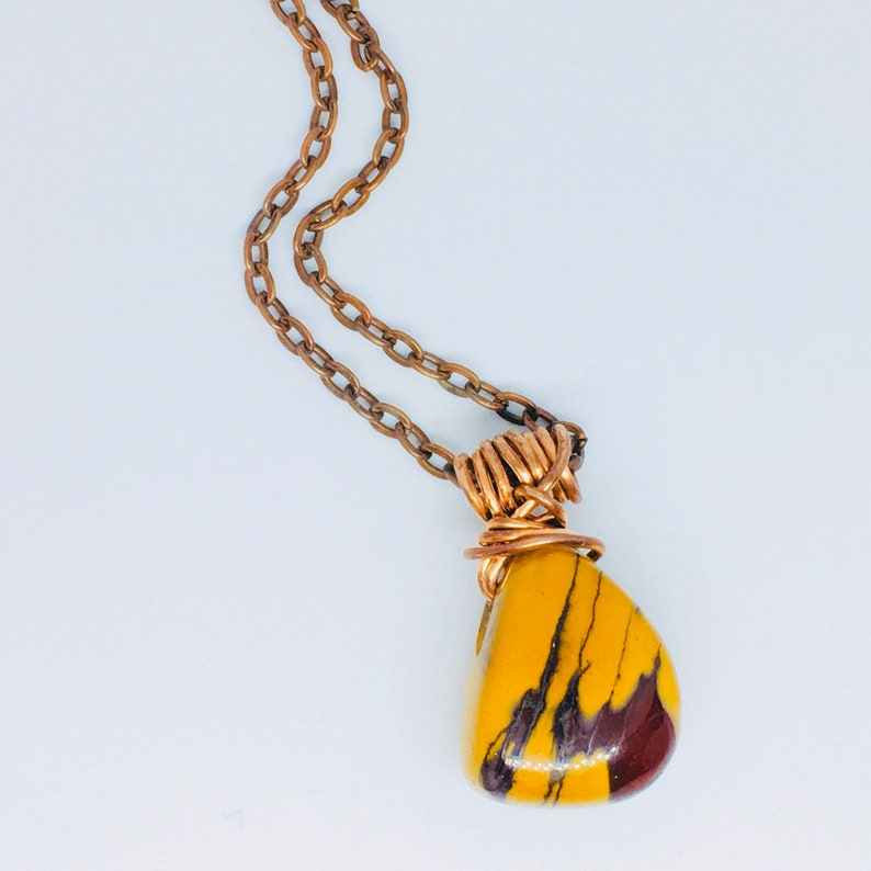 Mookaite Australian Jasper Copper wire wrapped Copper tone image 0