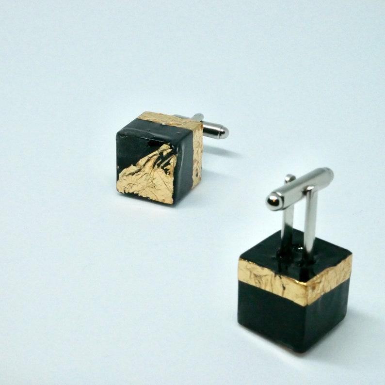 Geometric Diamond black and 24 carat gold leaf Cube cufflink image 0