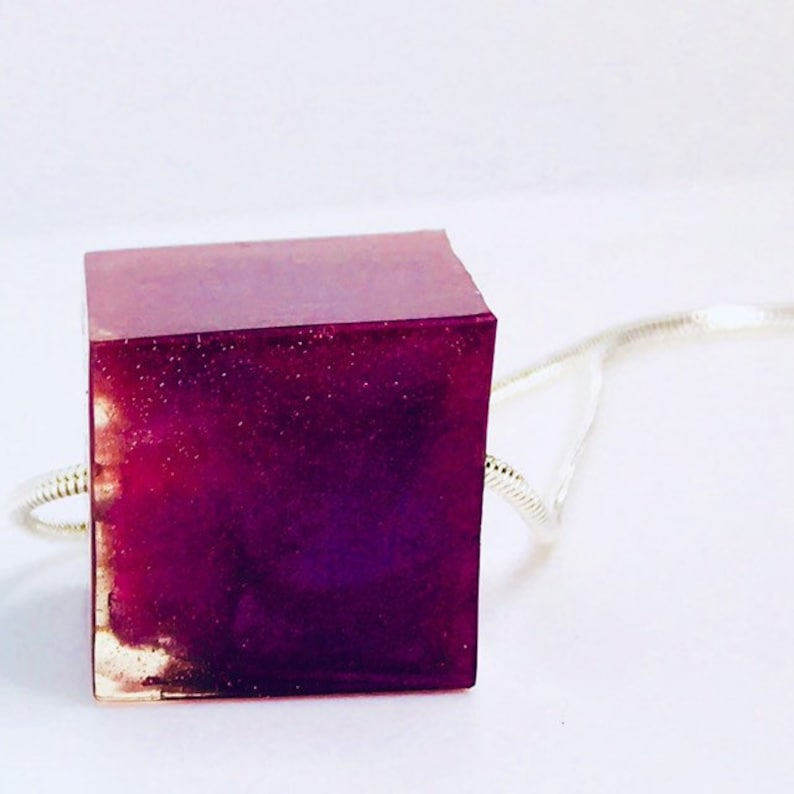 Single Purple Perfect cube Pendant on silver necklace Free image 0