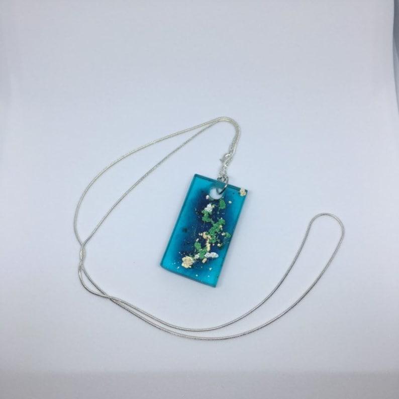 Handmade Aqua Water Sea Pendant on silver necklace Free image 0
