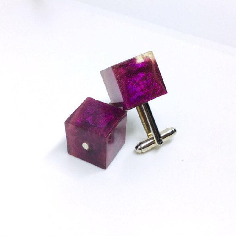 Casino Cufflinks epoxy resin purple shot with silver one of image 0