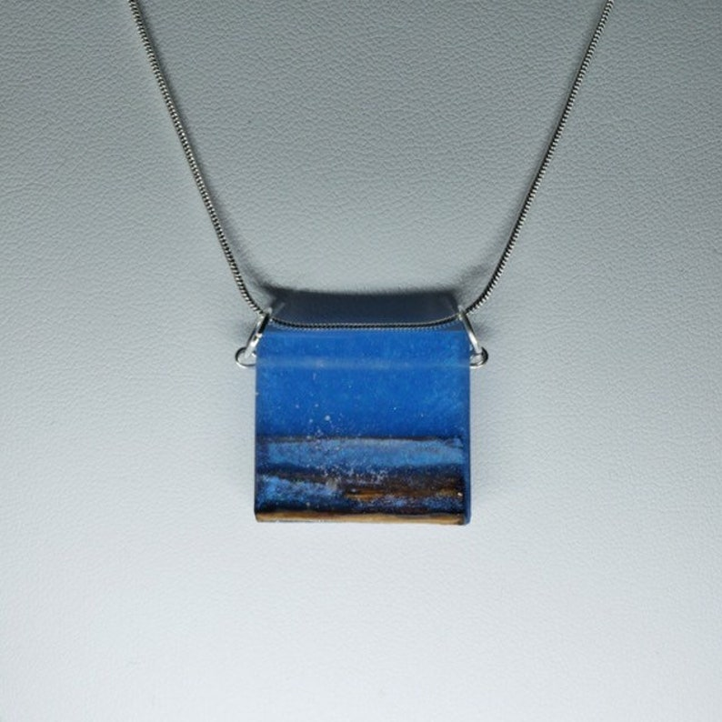 Stylish Blue Ocean waves cedar shoreline pendant on silver image 0