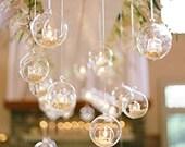 18 24 Hanging Glass Orbs, Hanging Candle Holders, Glass Terrariums, LED Tealight Holders, Glass Globe, Wedding Centerpiece, Wedding Supplies