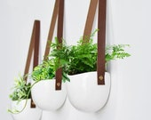 Set Of 3 Brown Tan Leather Strap Hanging Planters, Wall Mounted Vase, White Ceramic Wall Vase, Leather Flower Pot, Vase, Container