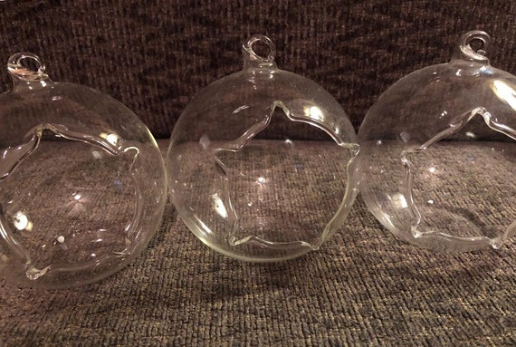 Glass Globe Srl.Set Of 3 Star Opening Hanging Globe Terrariums Tealight Holders Succuoent Planters Moss Terrariums Desktop Terrariums Wedding Orbs