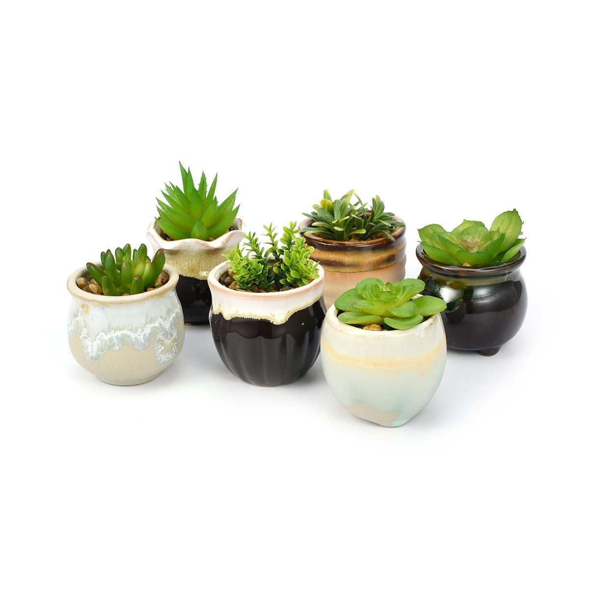SET OF SIX Glazed Ceramic Planters, Succulent Planters, Small Ceramic  Planters, Glazed Pots, Small Ceramic Pots, Tiny Ceramic Vases