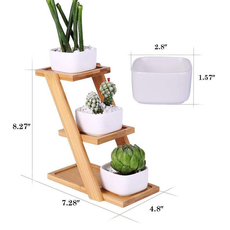 3 PACK White Mini Ceramic Plant Pots With Bamboo Tray, Square Planters,  Plant Stand, Plant Holder, White Square Ceramic Planters, Mini Vase
