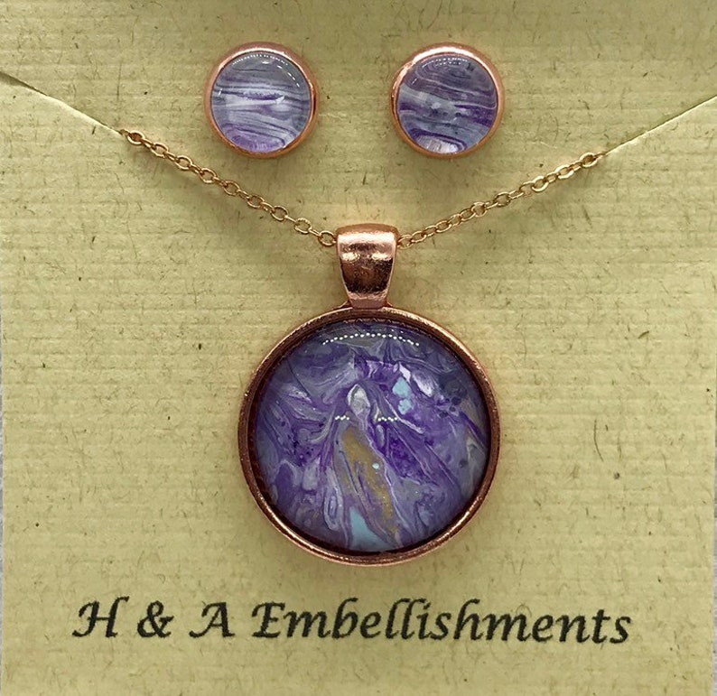 Hand painted rose gold necklace and earring set # 155