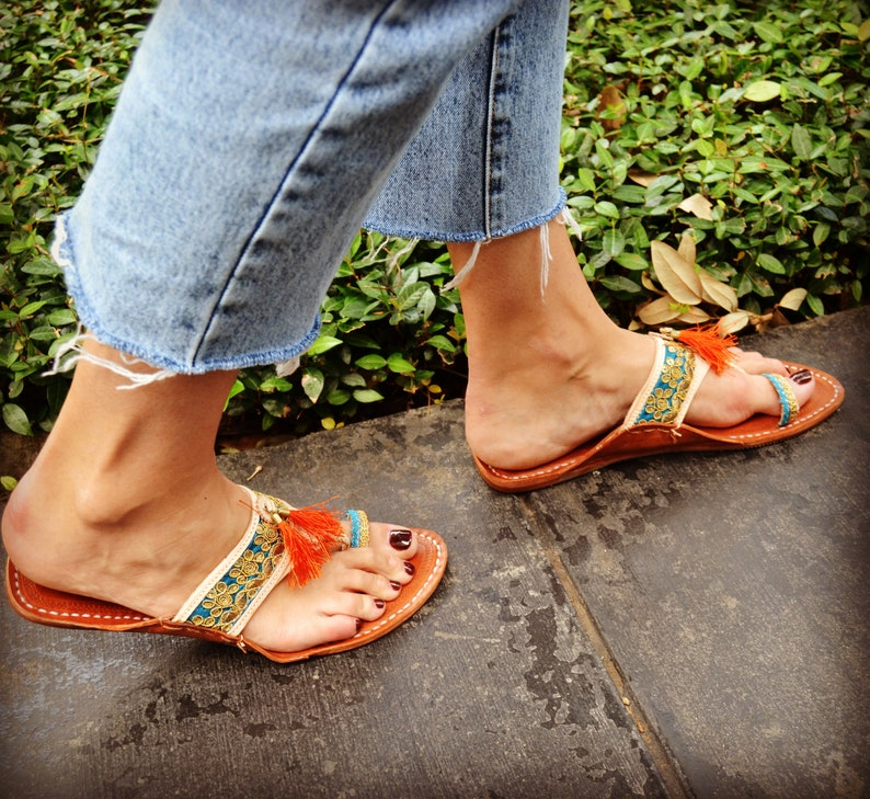 Turquoise  Orange Handmade Indian Leather Sandals
