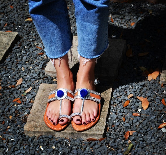 Handmade Indian Leather Sandals Silver  Blue