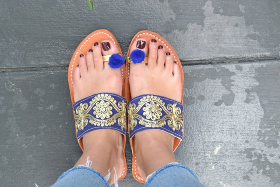 Handmade Indian Leather Sandals Wide Strap Gold and Blue