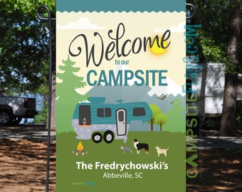 """Personalized RV Pet Flag """"Welcome To Our Campsite"""""""