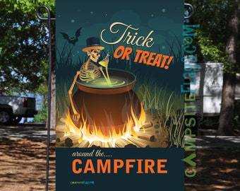 Halloween Campsite Flag - Trick Or Treat Around The Campfire