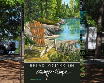 Camping Garden Flag - Relax You're On Camp Time