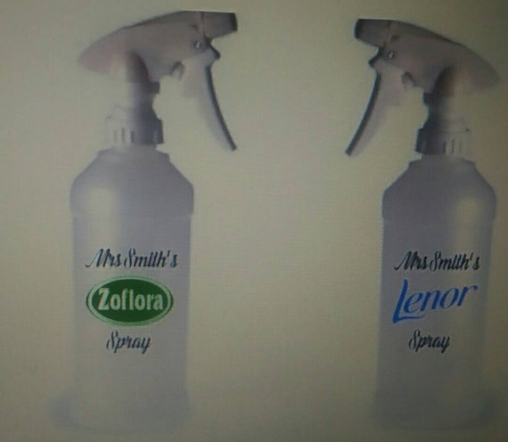 Two Personalised Cleaning Bottle Vinyls Stickers Mrs Hinch inspired