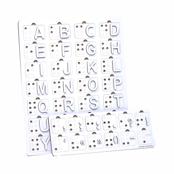 Montessori Toy Raised Dots Teaching Aid Tactile Braille Alphabet and Number Wood Board