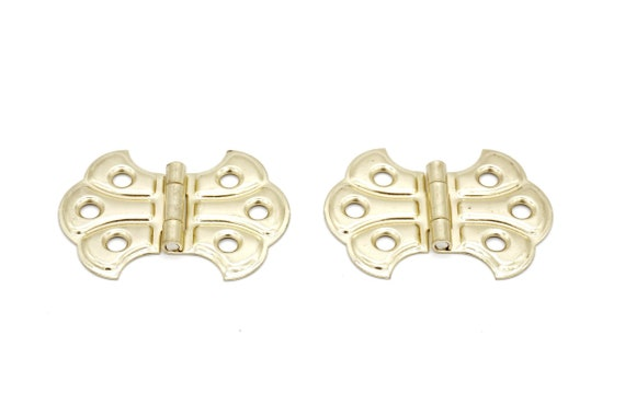 Pair of Brass Plate Butterfly Hinges Flush Mount Hinge Antique Style