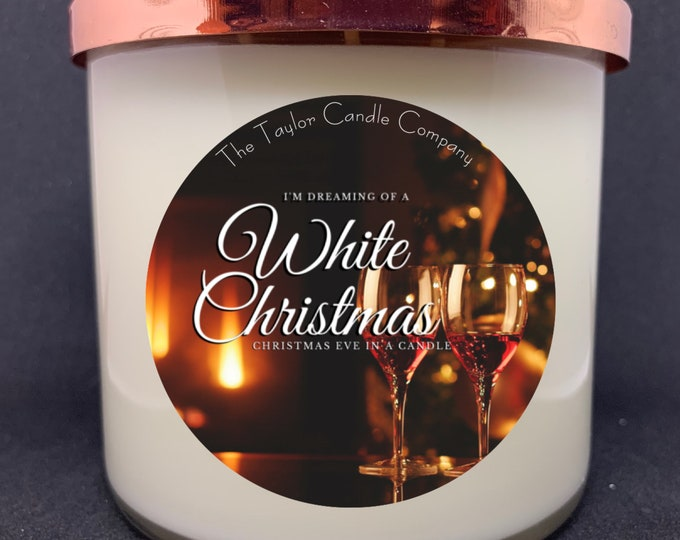 White Christmas Candle, Soy Candle, Christmas Hearth Scent, Holiday Candle