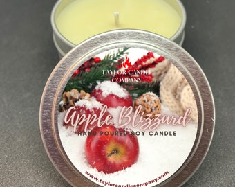 Apple Blizzard Candle, Soy Candle, Apple, Cypress, Bayberry, Holiday Candle, Christmas