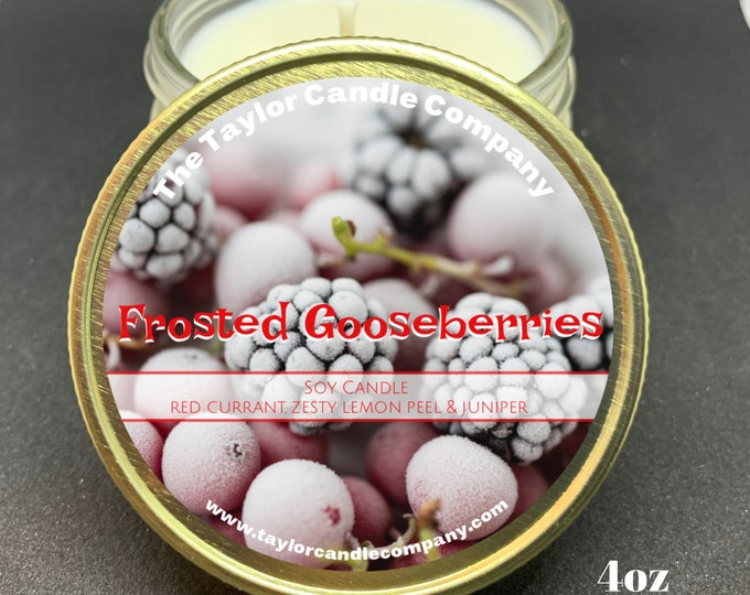 Frosted Gooseberries Candle, Soy Candle, Red Currant, Holiday Candle, Lemon, Juniper