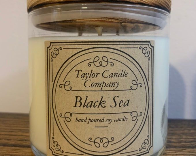 Black Sea Candle - Soy Candles Various Sizes 12oz, 8oz, 4oz, 3 wick,
