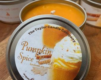 Pumpkin Spice Latte Soy Candle, Pumpkin, PSL, 3 Wick Candle