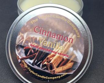 Cinnamon & Vanilla Candle - Soy Candles Various Sizes 12oz, 8oz, 4oz