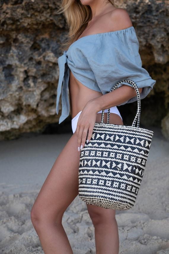 Patterned Natural Rattan Tote, Elegant Basket Bag,