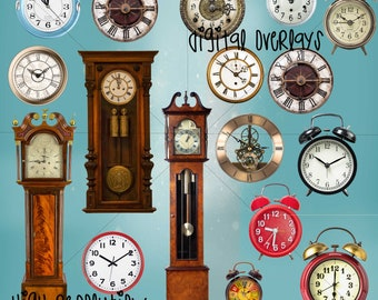 PHOTOSHOP DIGITAL OVERLAYS clocks, png, digital, photoshop, transparent background