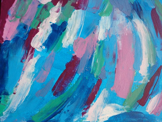 Original Textured Abstract Art Colourful Acrylic Painting 9 X12 Landscape Calm Blue Pink Green White Acrylic Art Abstract Painting