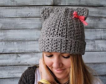 bea3cc7da5cd5b Gray PussyHat  Pussy Cat Hat  Knit Cat Ears Hat  Gray Cat Hat
