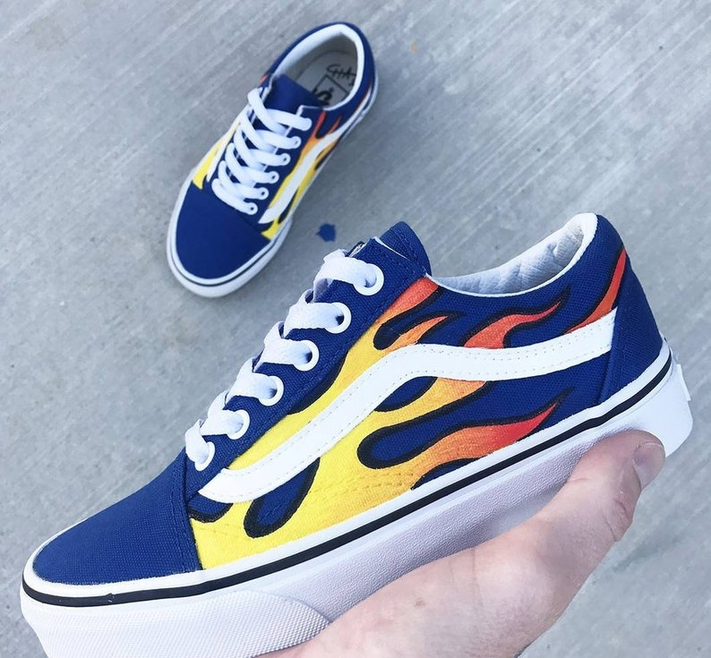 fbe2c54d58 Fire Flame Hand Painted Custom Shoes