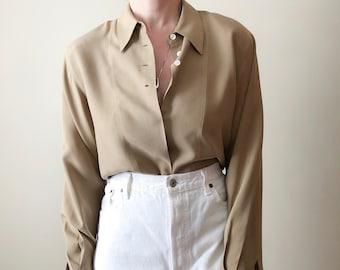 812733d0bfa1e6 Vintage taupe silk blouse // S