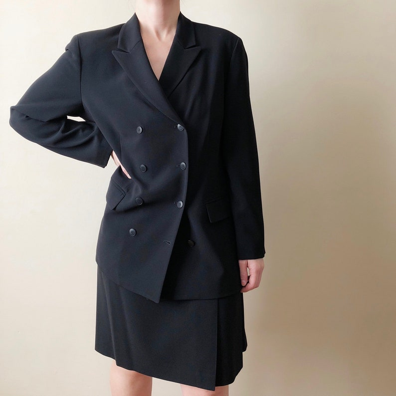 8a50d5a1d90 Vintage black double-breasted skirt suit // XL