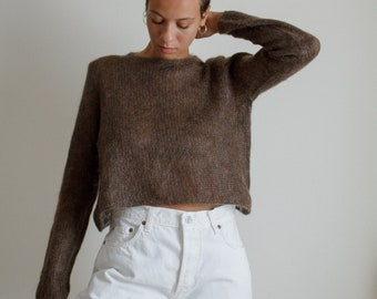 Vintage brown mohair and wool blend open knit cropped sweater // L (2060)