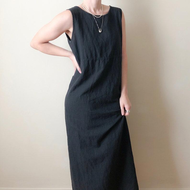 946f5b7cf8 Vintage black linen straight dress    L
