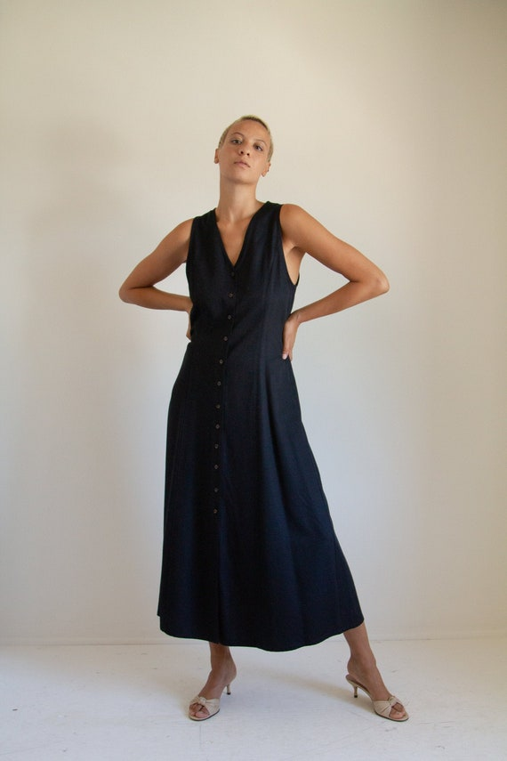 Vintage 90s long black minimal tie back dress // S