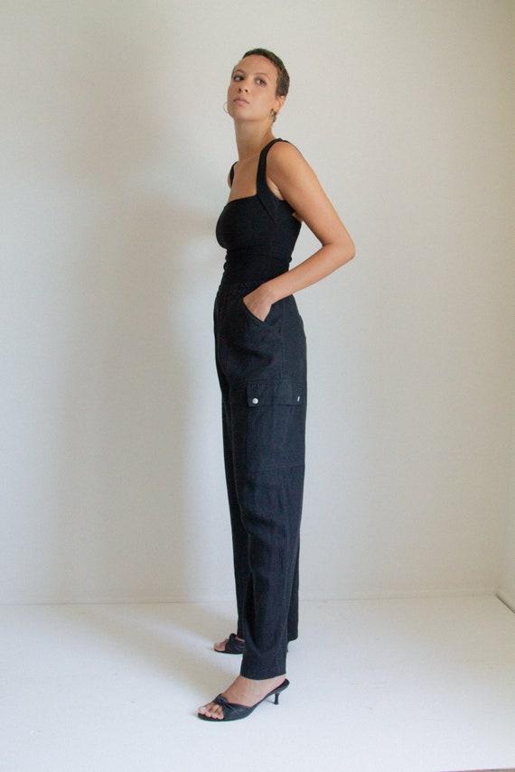 Vintage black linen cargo pants // XL (1024)